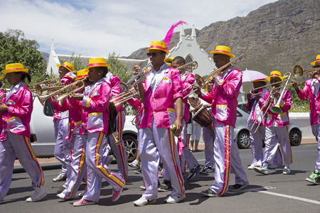 marching band: Colourful marching band in Franschhoek Western Cape South Africa