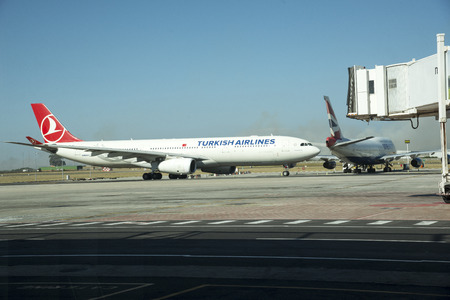 Turkish Airlines A330 Airbus on taxiway Cape Town International Airport South Africa Editorial