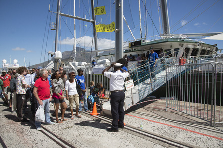 greenpeace: Greenpeace Rainbow Warrior alongside on a visit to Cape Town S Africa