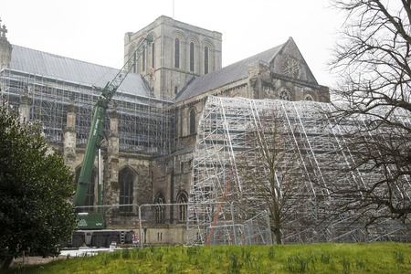 roof framework: Scaffolding framework waits to be lifted onto the roof of Winchester Cathedral. The frame will enable access to restore roof leadwork Editorial