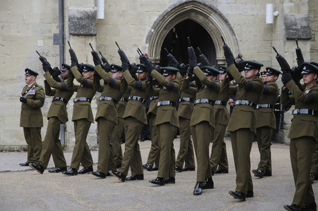 gunfire: Military firing party prepare to fire a rally of shots 4th Battalion Rifles Regiment outside Salisbury Cathedral Wiltshire England Editorial