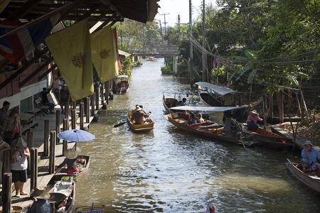 afloat: The Damnoen Saduak Floating Market about 60 miles from Bangkok Thailand Editorial