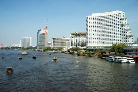 phraya: The Chao Phraya River seen from Taksin Bridge Bangkok Thailand
