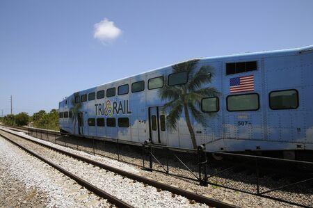 Tri Rail train departing Boca Raton Station Florida USA