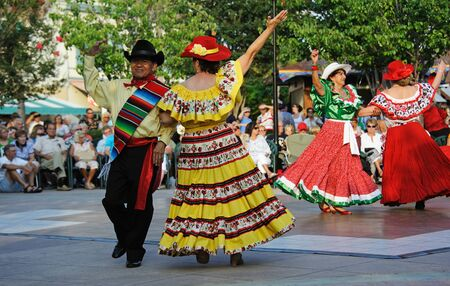 fiestas: Cinco De Mayo dancers performing in the town square of The Villages in Florida USA dancing in the town square during the Cinco De Mayo festival Editorial