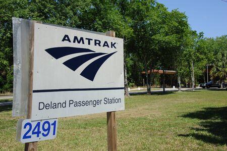 anorak: AMTRAK Deland railroad station sign Florida USA