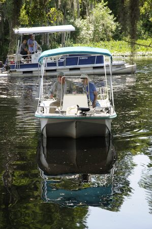A dayboat on the Rainbow River at Dunnellon Marion County Florida USA Editorial