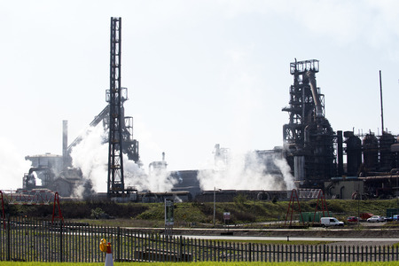 company premises: Steelworks coke blast furnace Port Talbot South Wales UK Editorial