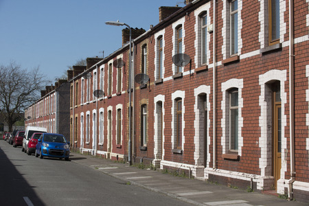 houses row: Row of terraced houses in Port Talbot Wales UK