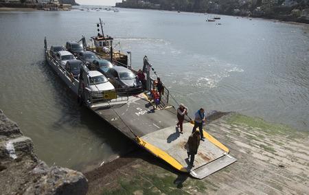 off ramp: Car and passenger ferry on the River Dart Devon England UK
