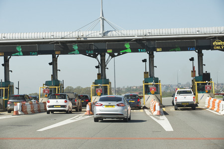 severn: Motorists using toll station at the Severn Bridge M4 motorway crossing Editorial