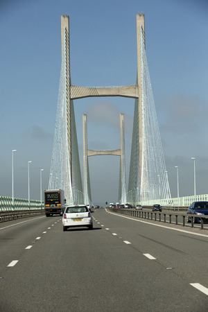 severn: M4 motorway and the Severn Bridge which devides England and Wales UK