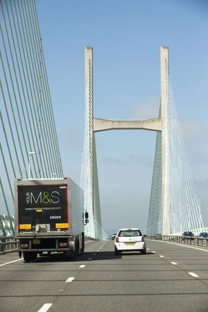 severn: M4 motorway and the Severn Bridge which devides England and Wales UK Marks and Spencer company lorry