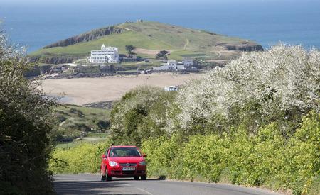 burgh: Burgh Island of the English coast in south Devon England UK Seen from a country lane in Bigbury