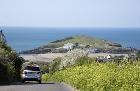 burgh: Burgh Island of the English coast in south Devon England UK Seen from a country lane in Bigbury