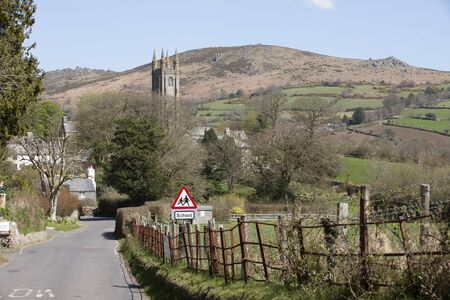 english west country: Widecombe in the Moor a village in Dartmoor National Park Devon UK