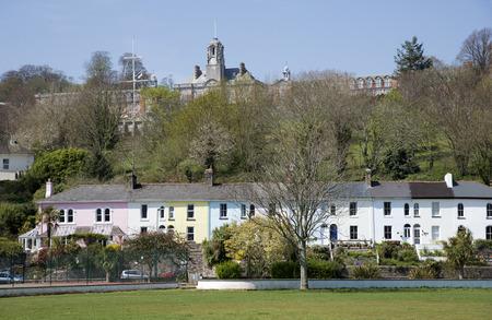 britannia: Britannia Royal Naval College and colourful terraced houses in Dartmouth Devon UK