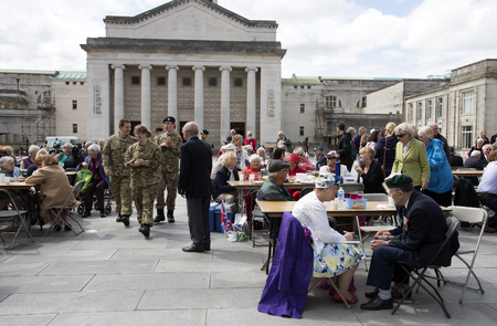 guildhall: VE Day 70th Anniversary Party in the Guildhall Square Southampton UK 09 May 2015 A Royal Navy Commando veteran enjoying the party