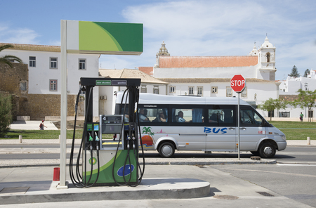 Petrol pump on the roadside in the historic town of Lagos Portugal