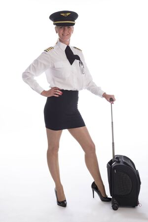 pull along: Attractive mid age female airline pilot