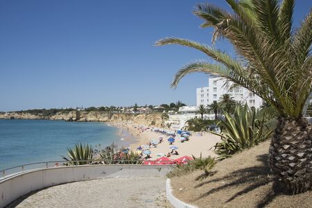 armacao: The beach in the Algarve town of Armacao de Pera southern Portugal Stock Photo