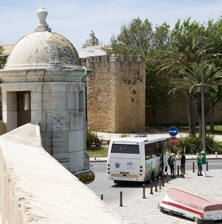 lagos: Tour bus in the historic area of Lagos southern Portugal