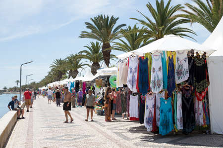 Market on the boardwalk in Lagos southern Portugal