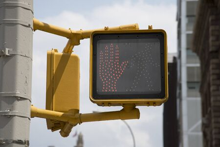 red hand: Pedestrian crossing red hand sign in New York USA Editorial