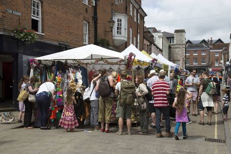 winchester: Market traders on The Square Winchester UK during the annual Hat Fair