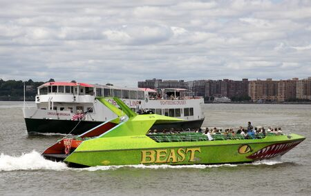 tour boats: Tour boats off Manhattan New York USA