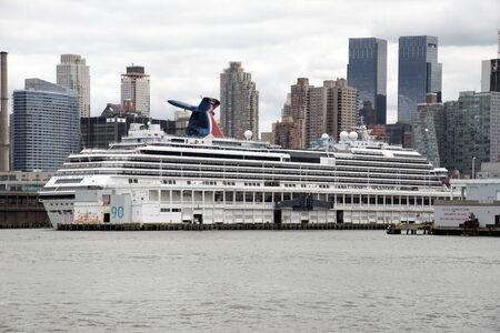 hudson river: Passenger cruise ship berthed at a pier on Hudson River New York USA Editorial