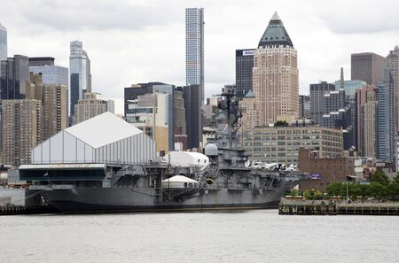 intrepid: USS Intrepid aircraft carrier and museum on Hudson River Manhattan NYC
