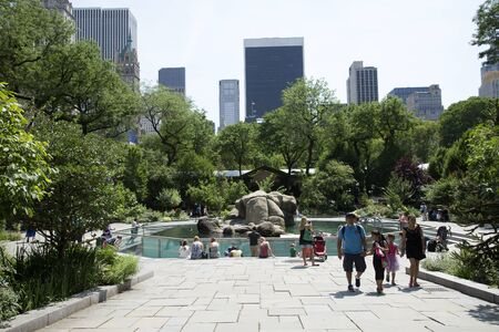 visitors area: Visitors around the sea lions area at Central Park Zoo Manhattan New York USA