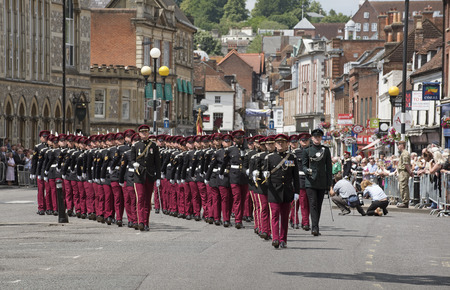 troops: Marching officers and men Kings Royal Hussars during the Freedom of Entry parade in Winchester England.The event celebrates 300th anniversary of the regiment. Troops march on Broadway in the city centre,