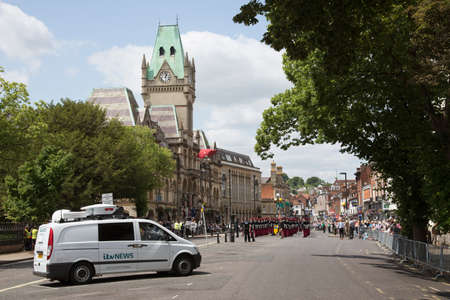onsite: Television news gathering van onsite in Winchester UK during a military parade Editorial