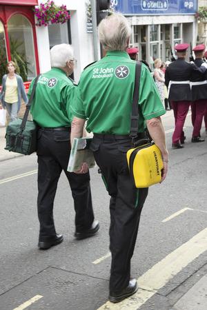 semi automatic: St John Ambulance officer carrying a semi automatic defibrillator Editorial