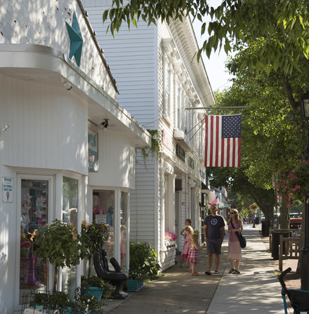 Main street in Westhampton on Long Island USA