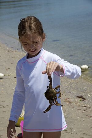 nine years old: Little girl holding a crab at the seasise. Long island USA