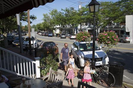 Main street in Westhampton on Long Island, USA
