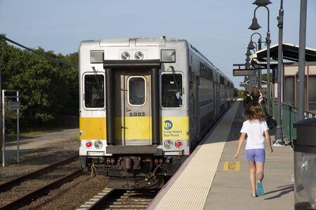 long island: MTA Long Island Railroad train at Mattituck Station USA