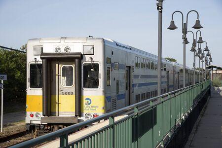 long island: MTA Long Island Railroad train at Mattituck Station, USA