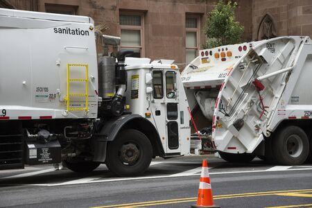 sanitation: City of New York Sanitation Department trucks