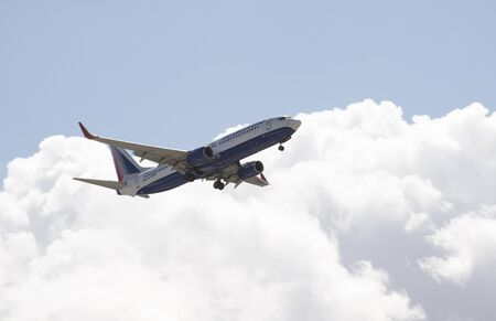 aeronautics: Transaero Airlines Boeing 737 with gear down about to land Editorial