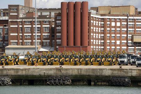 await: Tractors and trucks await export Port of Southampton UK Editorial