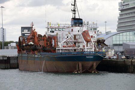 suction: The Arco DIJK a suction dredger ship alongside Port of Southampton UK