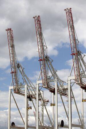 berth: Container terminal cranes line a deepwater berth at DPWorld Southampton Port UK