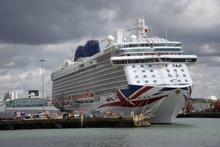 britannia: The Britannia cruise ship alongside Ocean terminal Port of Southampton UK Editorial