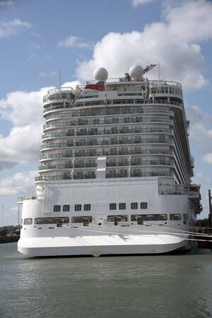 liner transportation: Large cruise ship in port viewed from the stern Editorial