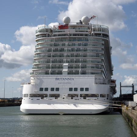 britannia: Cruise ship Britannia alongside Port of Southampton UK  View of the stern