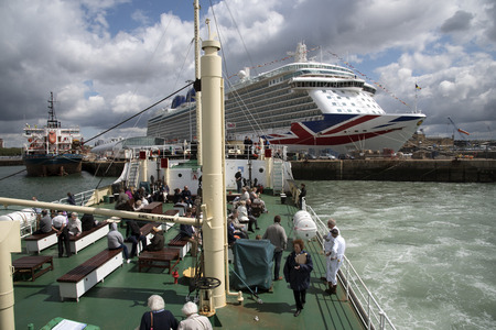 aboard: Tourists aboard SS Shieldhall a historic ship viewing the port of Southampton UK